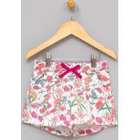 Short Infantil Com Estampa Floral - Tam 5 A 14