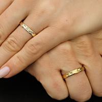 Aliança De Ouro Noivado Anatômica Com Diamantes - As0296 + As0571