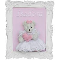 Quadro Porta Maternidade Ursinha Ursa Rosa Menina Enfeite Potinho De Mel