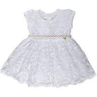 Vestido Infantil Batizado Tule Bordado Com Cinto De Pérolas - Anjos Baby Branco