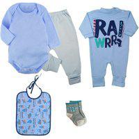 Kit Roupinhas De Bebê Enxoval 5 Peças Body Mijão E Macacão Azul