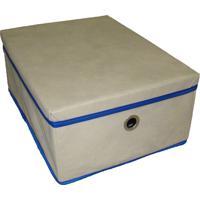 Caixa Organizadora Com Tampa E Ilhós 28X15X28Cm Organibox Bege/Azul