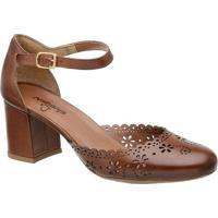 Sapato Tradicional Em Couro Com Recortes- Marrom- Samr. Cat