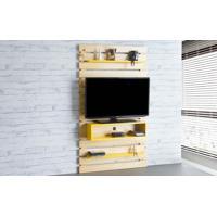 Painel De Tv Para Sala Standby - Rack De Parede Para Tv Até 45 Polegadas Natural E Amarelo - 100X23X172 Cm