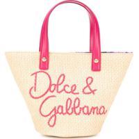 Dolce & Gabbana Kids Bolsa Tote Com Pesponto - Neutro