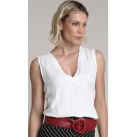 Regata Feminina Ampla Decote V Off White