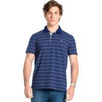 Camisa Azul Polo Listrada Em Malha
