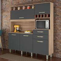 Cozinha Compacta Smart 5 Pt 2 Gv Cedro E Grafite