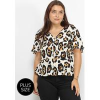 Blusa Lemise Plus Size Animal Print Onça Feminina - Feminino-Bege