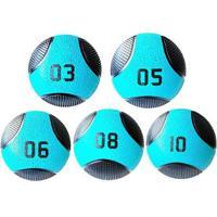 Kit 5 Medicine Ball Liveup Pro 3 5 6 8 E 10 Kg Bola De Peso Treino Funcional - Unissex