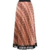 Twin-Set Snake Print Pleated Skirt - Neutro