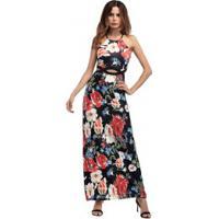 Vestido Longo Com Estampa Floral De Alcinha
