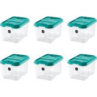 Kit Com 6 Caixas Organizadoras Plus Verde-Água 10 L