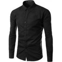 Camisa Social Slim Fit Solid - Preto