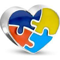 Pingente Life Símbolo Autismo Em Coração