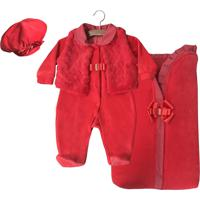 Saída De Maternidade Letícia Enxovais Puro Amor Penélope Com Porta Bebê Vermelha