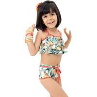 Biquini Infantil Sol E Energia Babado - Feminino-Verde