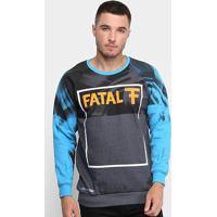 Blusa Moletom Fatal U Rag Logo Masculina - Masculino-Preto+Cinza