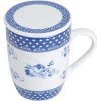 Caneca De Porcelana Super White Com Tampa E Filtro Elsa Azul E Branco 310Ml Com Caixa De Presente Lyor