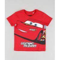Camiseta Infantil Relâmpago Mcqueen Carros Manga Curta Vermelho