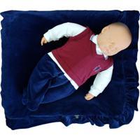 Saída De Maternidade Sonho Mágico Plush Brasão Azul Naval