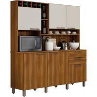 Cozinha Compacta Kit Topázio - Nogal Com Offwhite