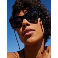 Óculos De Sol Gatinho Vazado - Preto U