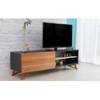 Rack De Tv Preto Moderno Vintage Retrô Com Porta De Correr Madeira Freddie - 160X43,6X48,5 Cm
