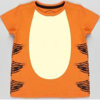Camiseta Infantil Carnaval Tigrão Ursinho Pooh Manga Curta Laranja