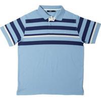 Camisa Polo Malha Fio Tinto Listrada Azul Claro M