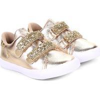 Tênis Infantil Bibi Velcro Glitter Feminino - Feminino-Ouro