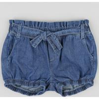 Short Jeans Infantil Balonê Com Faixa Para Amarrar Azul Médio