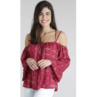 Blusa Open Shoulder Estampada Geométrica Rosa Escuro