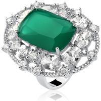 Anel Ellum Acessorios Verde Esmeralda Prata