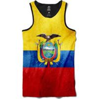 Regata Bsc Bandeira Equador Sublimada Masculina - Masculino-Preto