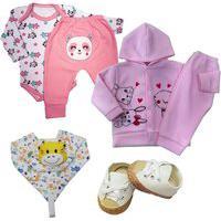 Kit 6 Pçs Roupa Bebê Menino Menina Estilosa Presente Enxoval Rosa