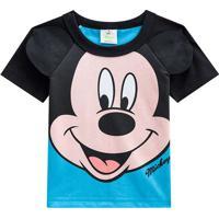 Camiseta Mickey Mouseâ®- Preta & Azul- Baby- Branbrandili