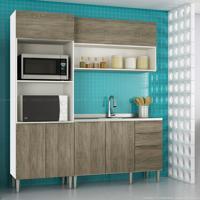 Cozinha Modulada Compacta 6 Portas E 3 Gavetas Vanguarda Rústico - Urbe Móveis