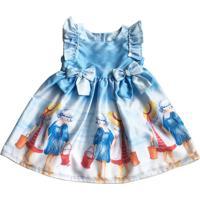 Vestido Bebê Estampado Da Tóing Com Barrado Fundo Azul