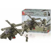 Blocos De Montar Air Force Modelo Helicóptero 199 Peças Indicado Para +6 Anos Verde Musgo Multikids - Br906 Br906