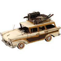 Miniatura De Carro Ford 1957 Decorativo De Metal Bege E Marrom