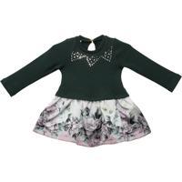Vestido Malha Com Saia Floral Gira Baby