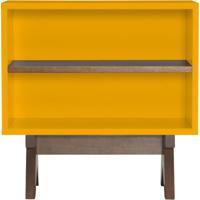 Aparador De Sofa Massimo Laqueado Cor Amarelo Fosco Com Base Nogal 60 Cm (Larg) - 46292 - Sun House