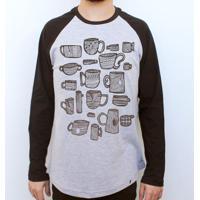 Xicaras - Camiseta Raglan Manga Longa Masculina