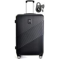 Kit Com Mala De Bordo Geometric E Localizador Bluetooth Reaggio - Com Rodas 360º - Santino - Unissex-Preto