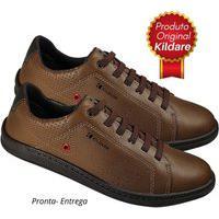 Sapatênis Kildare Sapato Cadarço Elástico Couro 8251 Malte