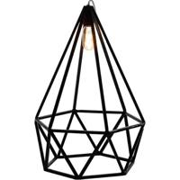 Luminaria Pendente Lume Estrutura Quadrado De Ferro Cor Preto 35Cm (Larg) - 54063 - Sun House