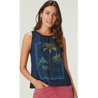 Blusa Azul Marinho Tropical Em Cetim