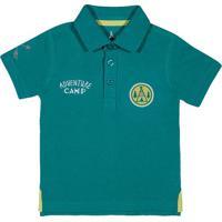 "Polo ""Adventure Camp""- Verde & Brancatip Top"