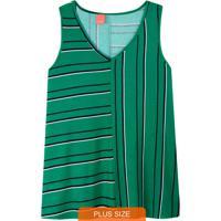 Blusa Verde Listrada Em Viscose